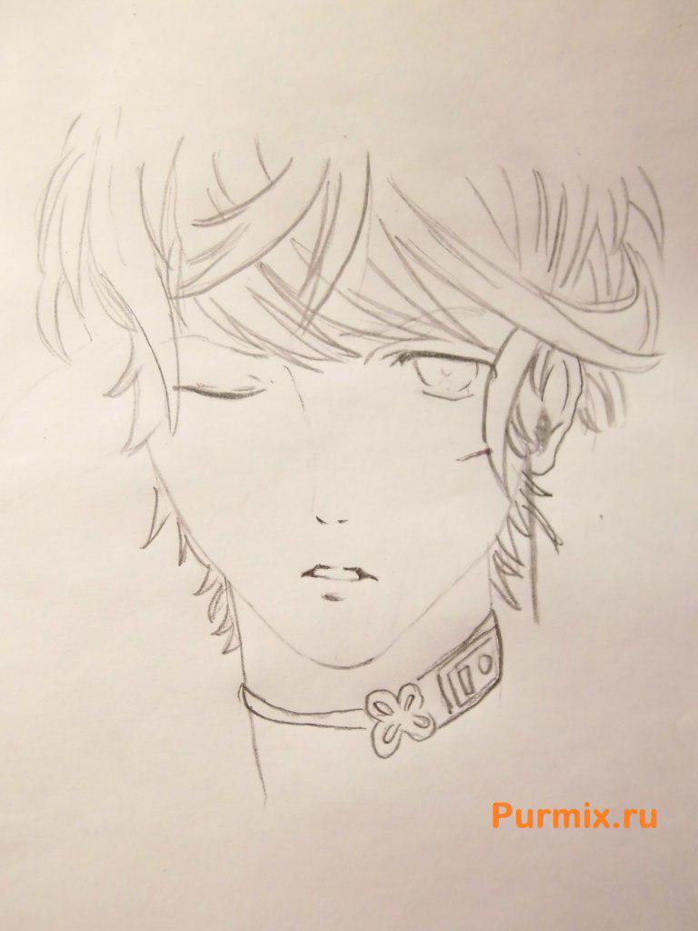 Рисуем Шу Сакамаки из аниме Дьявольские возлюбленные карандашами - шаг 3