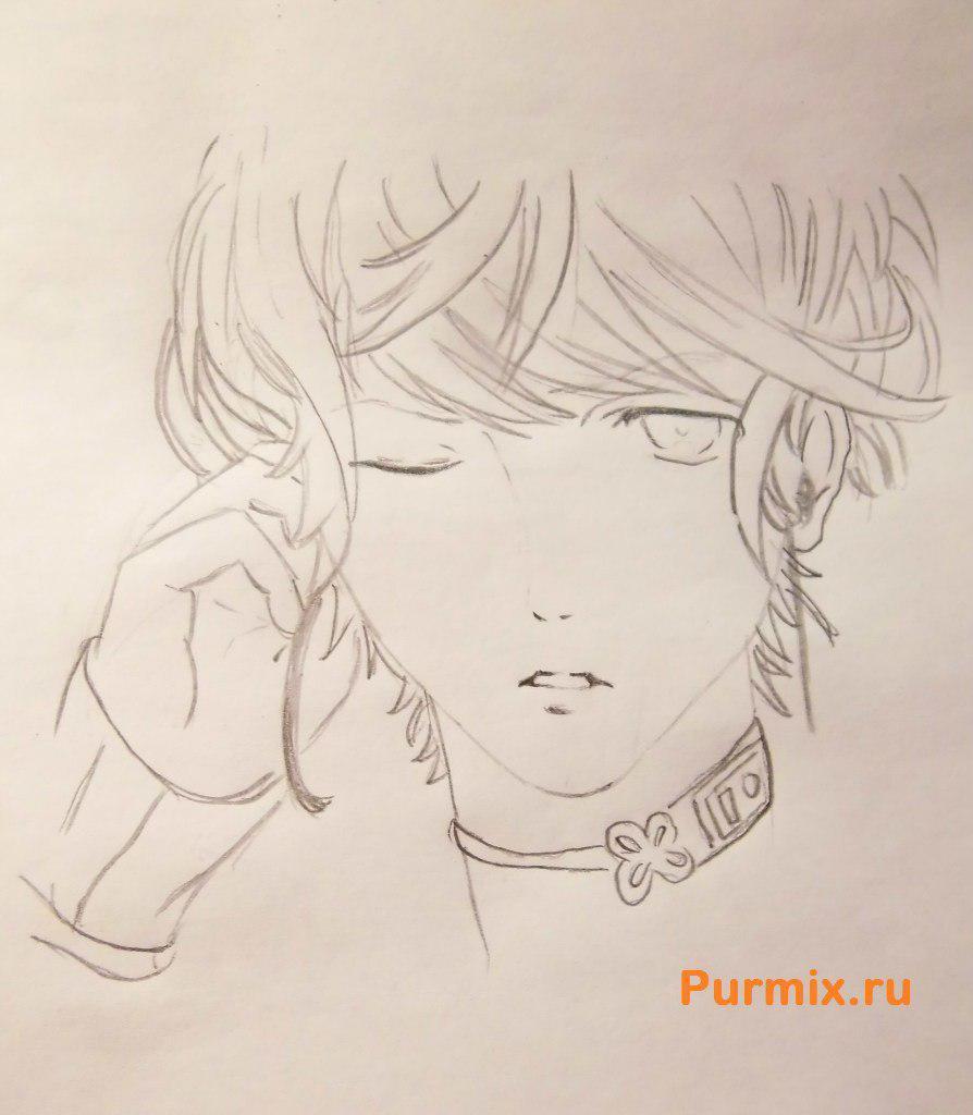 Рисуем Шу Сакамаки из аниме Дьявольские возлюбленные карандашами - шаг 4