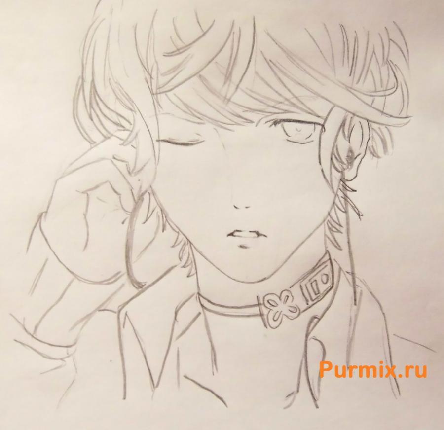 Рисуем Шу Сакамаки из аниме Дьявольские возлюбленные карандашами - шаг 5