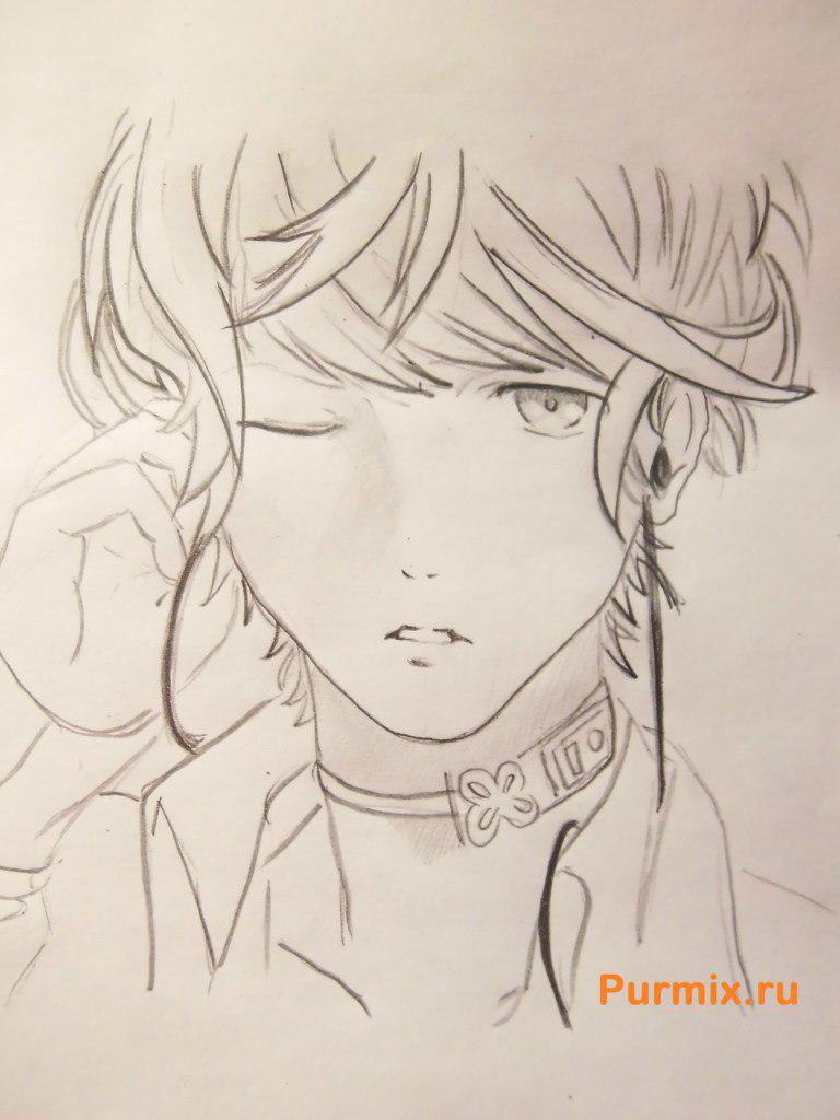 Рисуем Шу Сакамаки из аниме Дьявольские возлюбленные карандашами - шаг 7