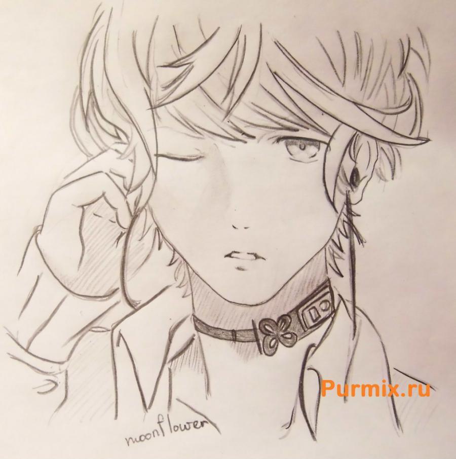 Рисуем Шу Сакамаки из аниме Дьявольские возлюбленные карандашами - шаг 8
