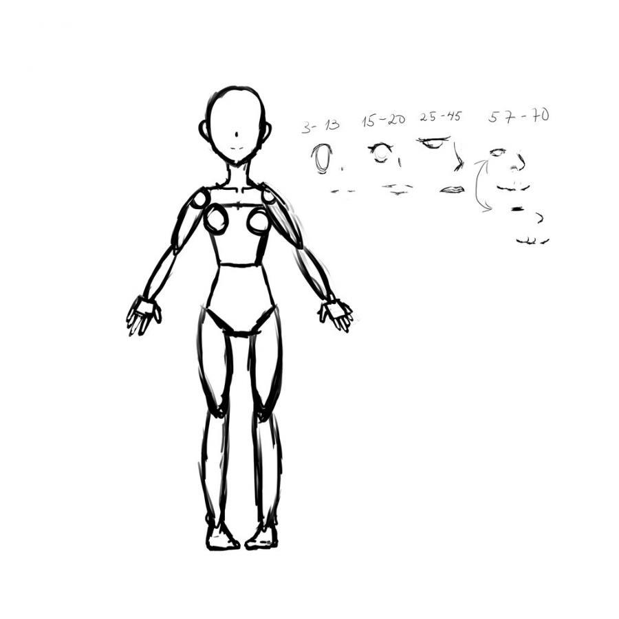 Рисуем тело школьницы в стиле аниме (подробный урок) - шаг 12