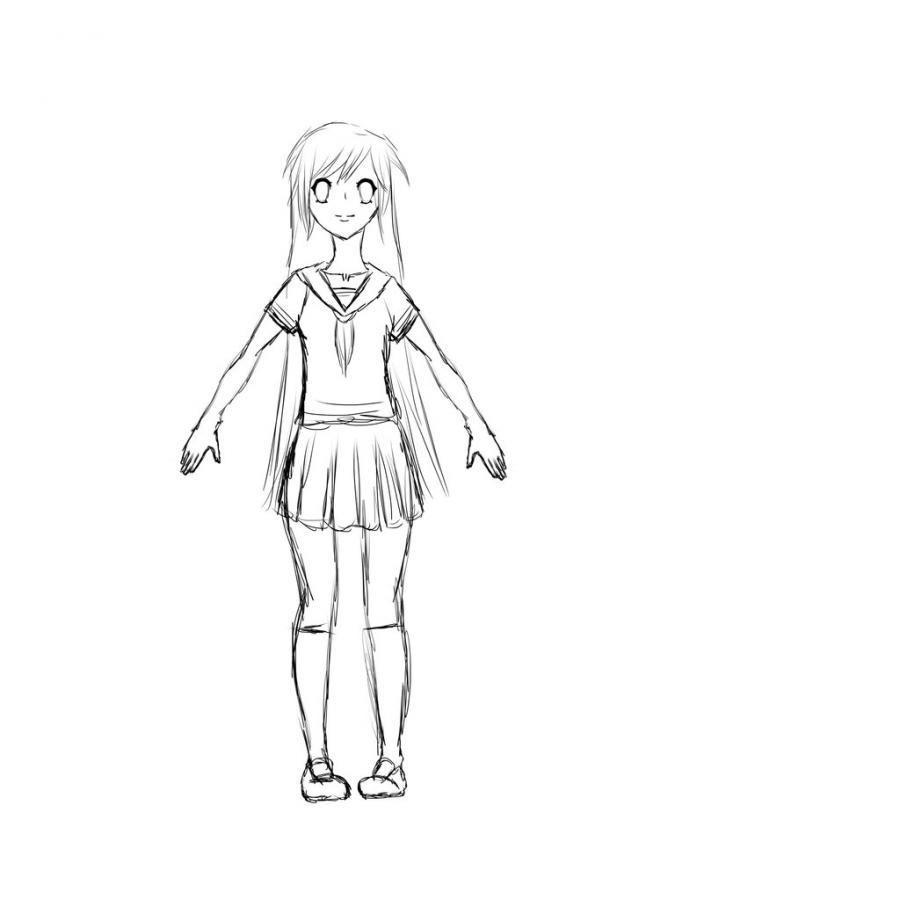 Рисуем тело школьницы в стиле аниме (подробный урок) - шаг 16