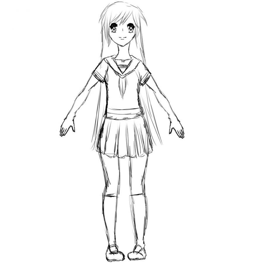 Рисуем тело школьницы в стиле аниме (подробный урок) - шаг 17