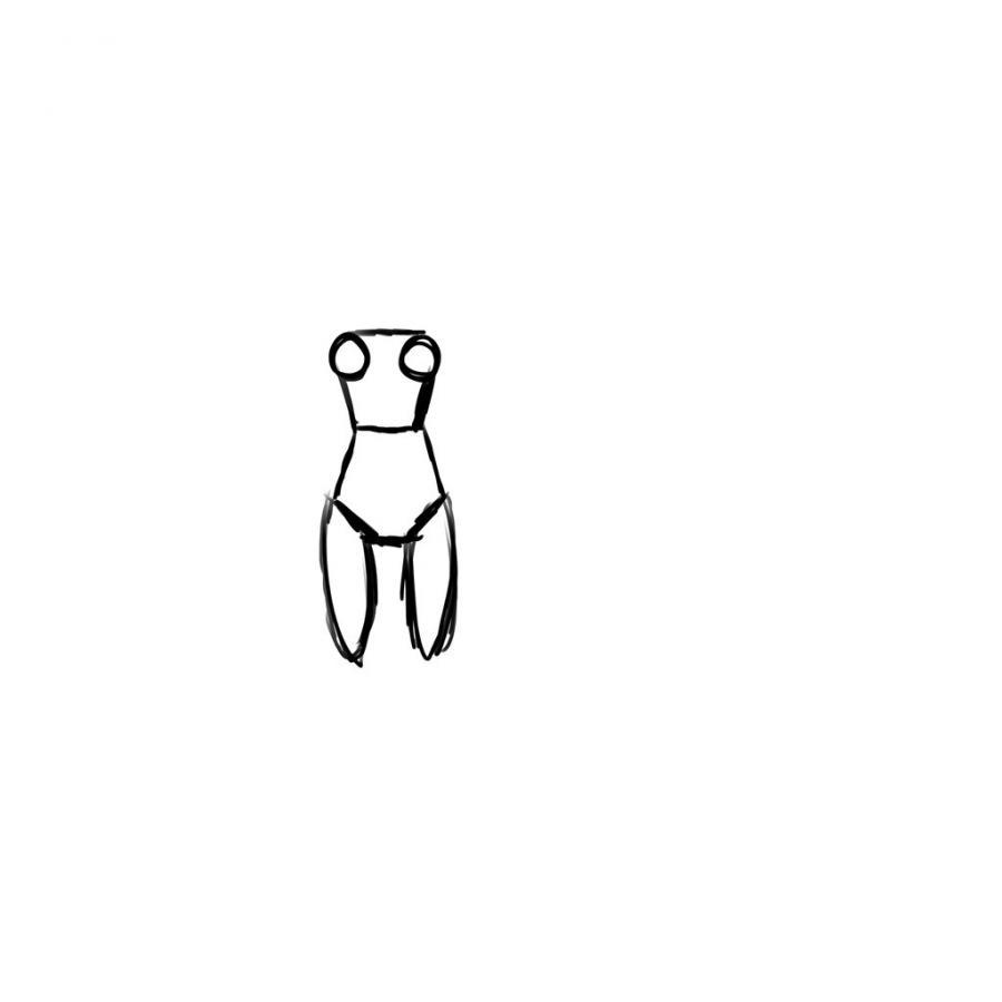 Рисуем тело школьницы в стиле аниме (подробный урок) - шаг 4
