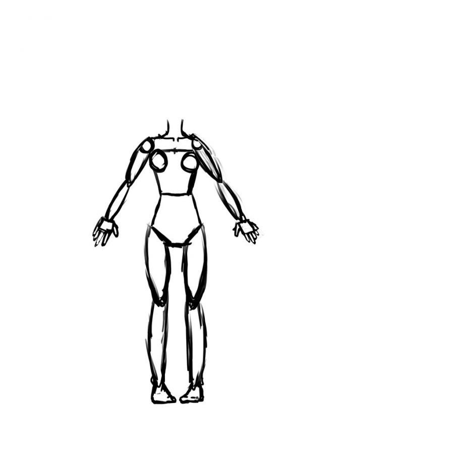 Рисуем тело школьницы в стиле аниме (подробный урок) - шаг 9