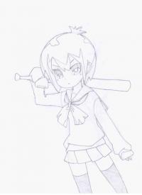 Тору из аниме Канал А карандашом
