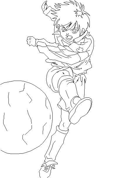 Рисуем аниме мальчика с мячом на бумаге