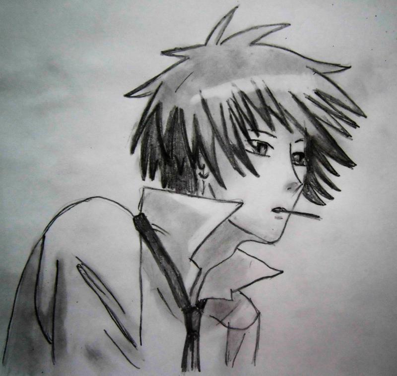 Рисуем Усуи Такуя из аниме Президент студсовета - горничная