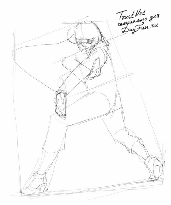 Рисуем Хинату Хьюга из аниме Наруто - шаг 2