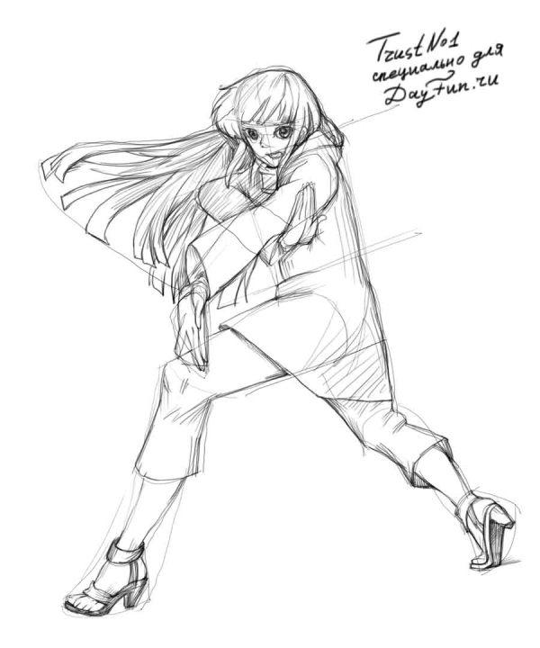Рисуем Хинату Хьюга из аниме Наруто - шаг 3