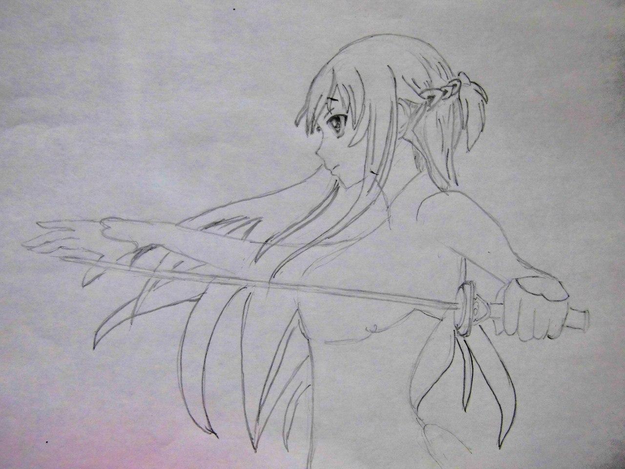Учимся рисовать Юки Асуну из аниме Мастера меча онлайн карандашами - шаг 3