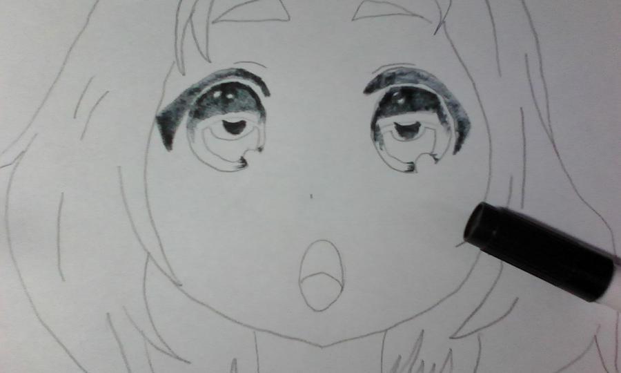 Как раскрасить аниме глаза фломастерами - шаг 2