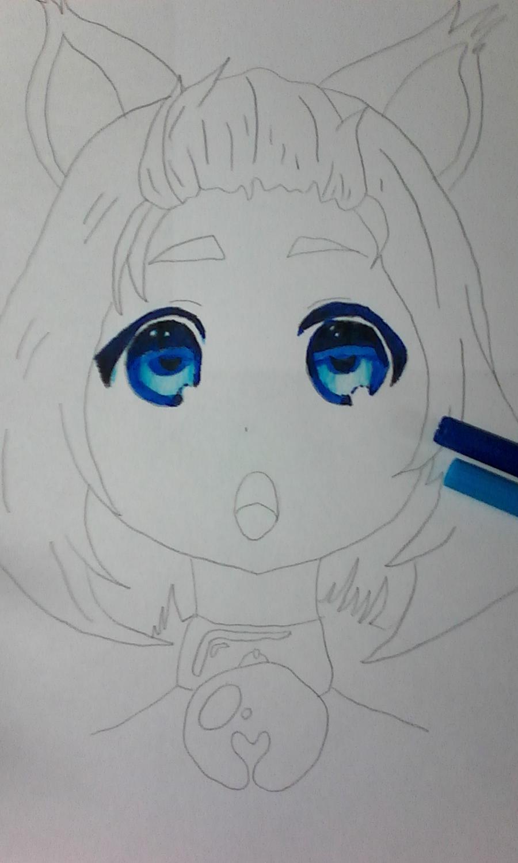 Как раскрасить аниме глаза фломастерами - шаг 6