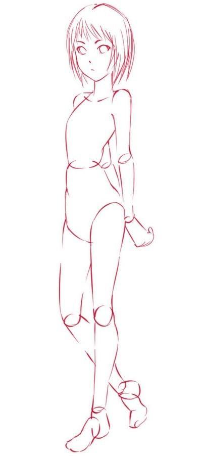 Как рисовать девушку-кошку в полный рост - шаг 2