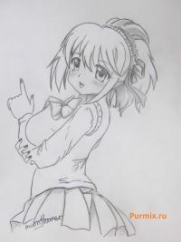 Как рисовать Куруму Куроно из аниме Розарио + Вампир карандашом