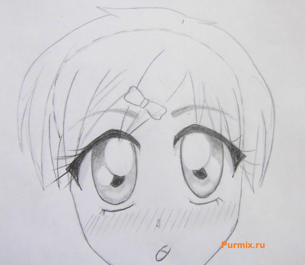 Рисуем аниме лицо девушки - шаг 18