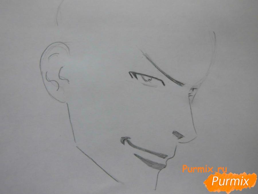 РисуемТацуми Ога из аниме Beelzebub - шаг 2