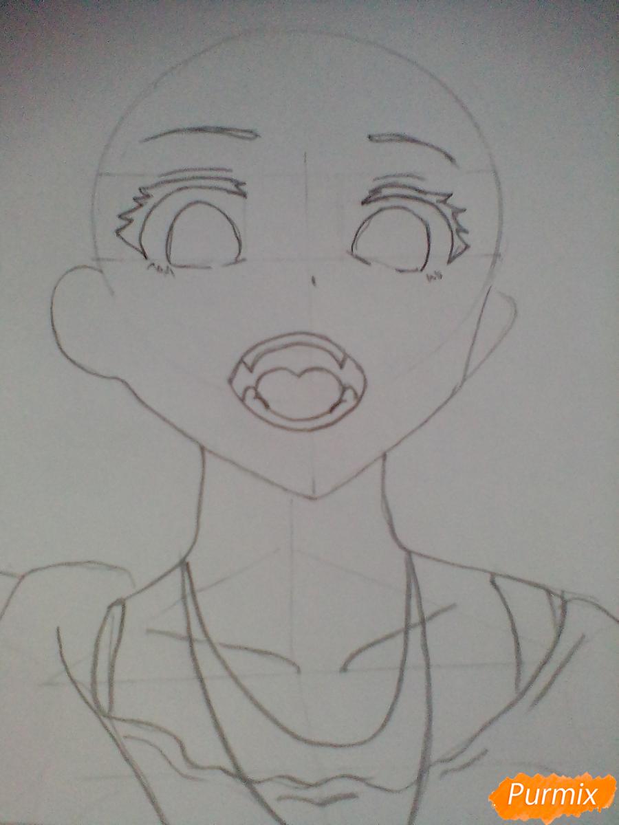 Кричащая аниме девушка в куртке - шаг 3