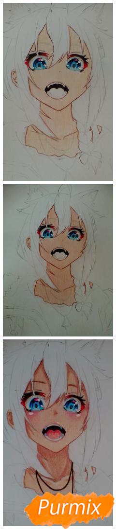 Кричащая аниме девушка в куртке - шаг 6