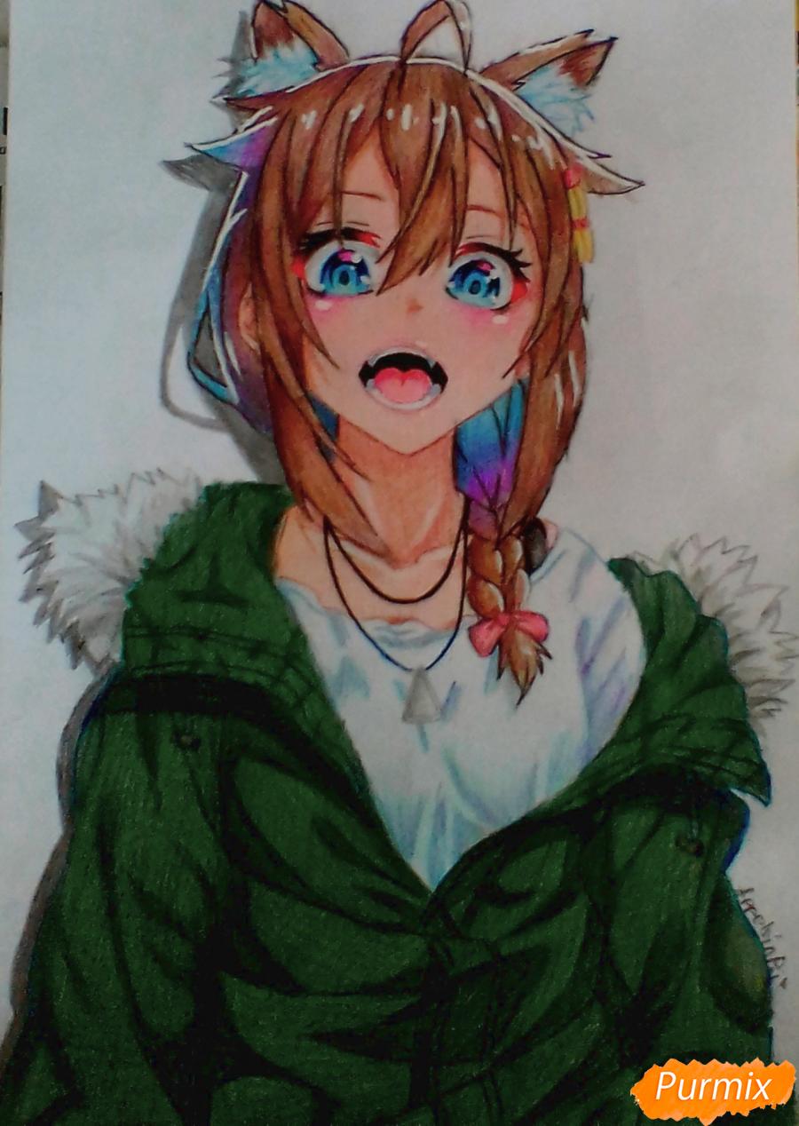 Кричащая аниме девушка в куртке - шаг 9