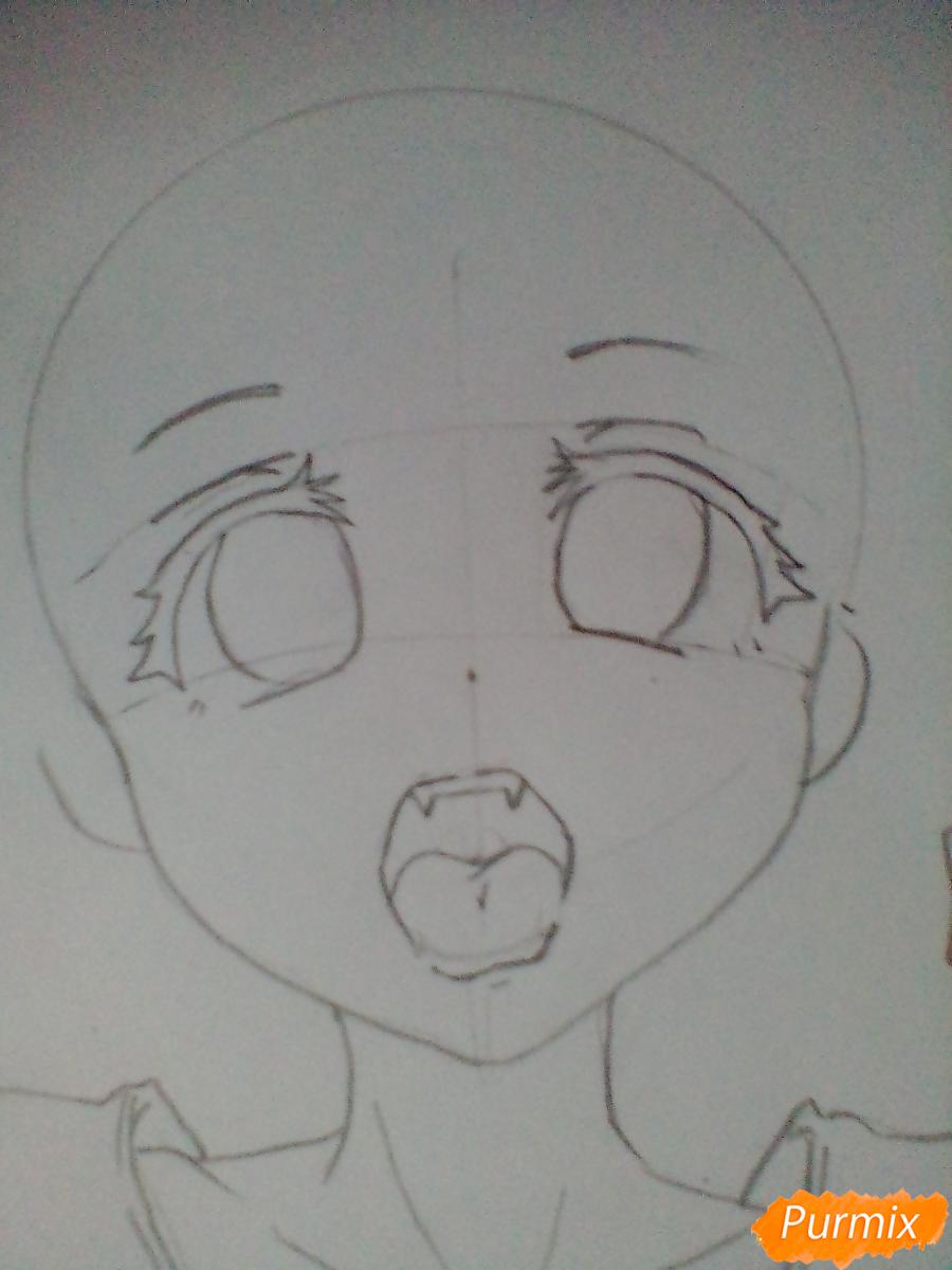 Кричащая девушка с цветными волосами - шаг 3