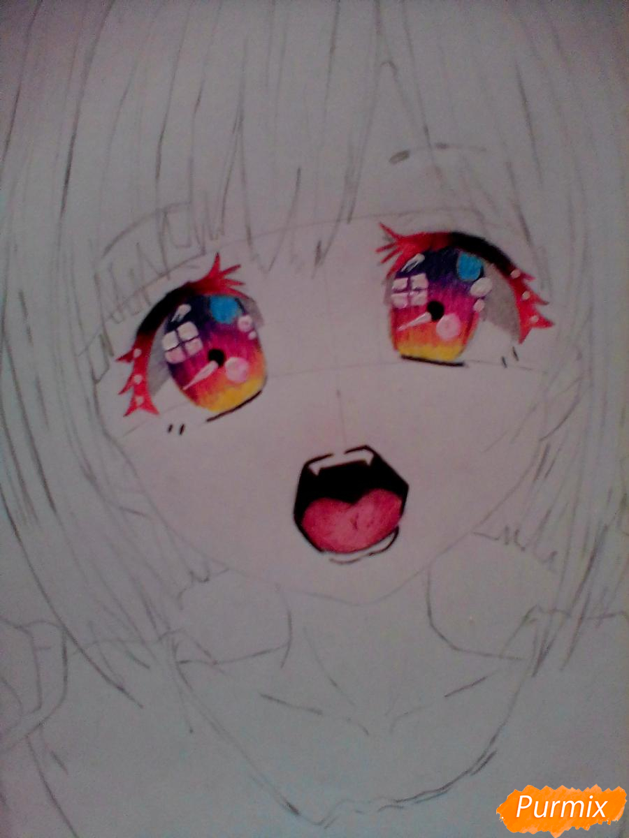 Кричащая девушка с цветными волосами - шаг 5