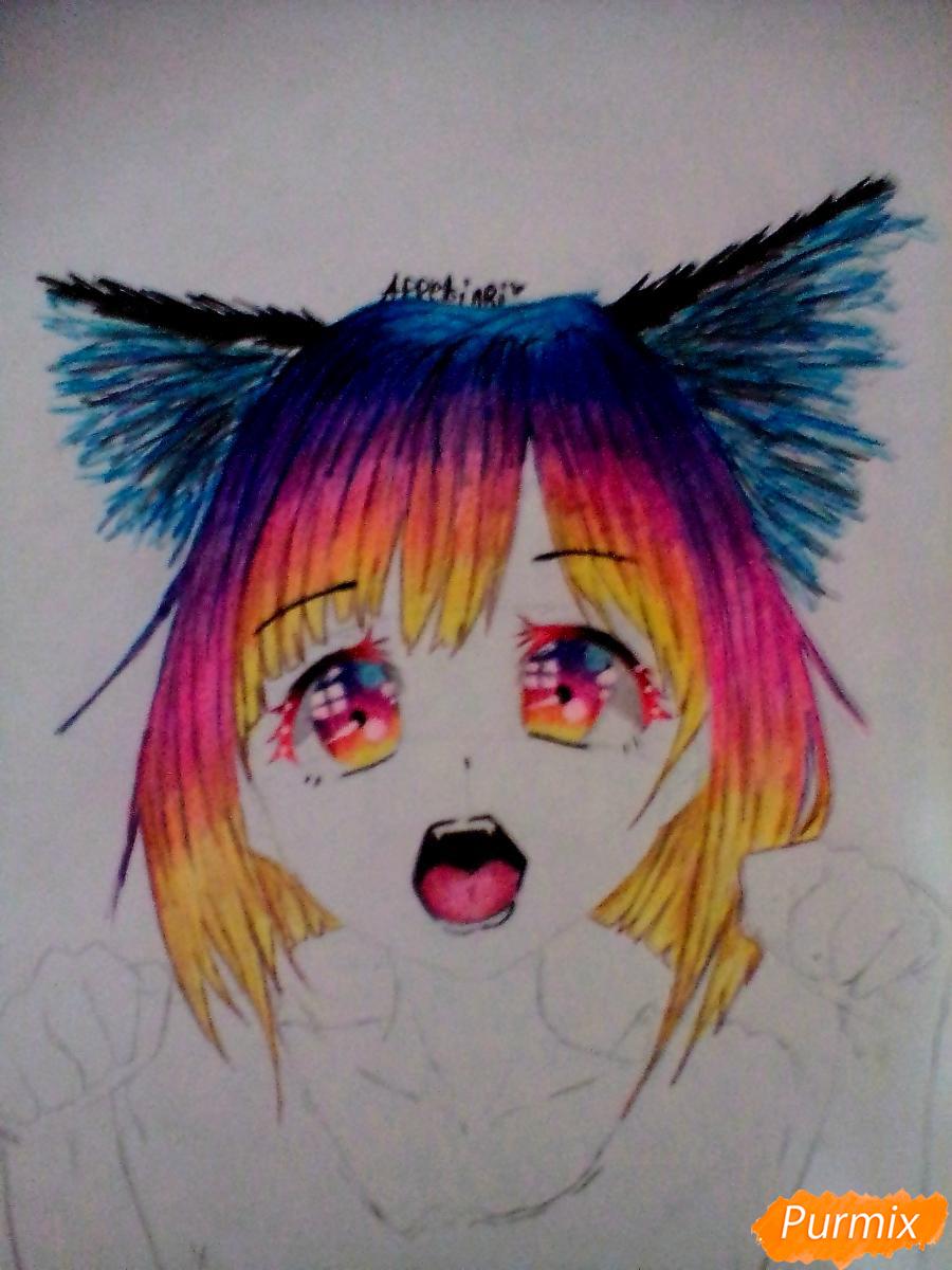 Кричащая девушка с цветными волосами - шаг 6