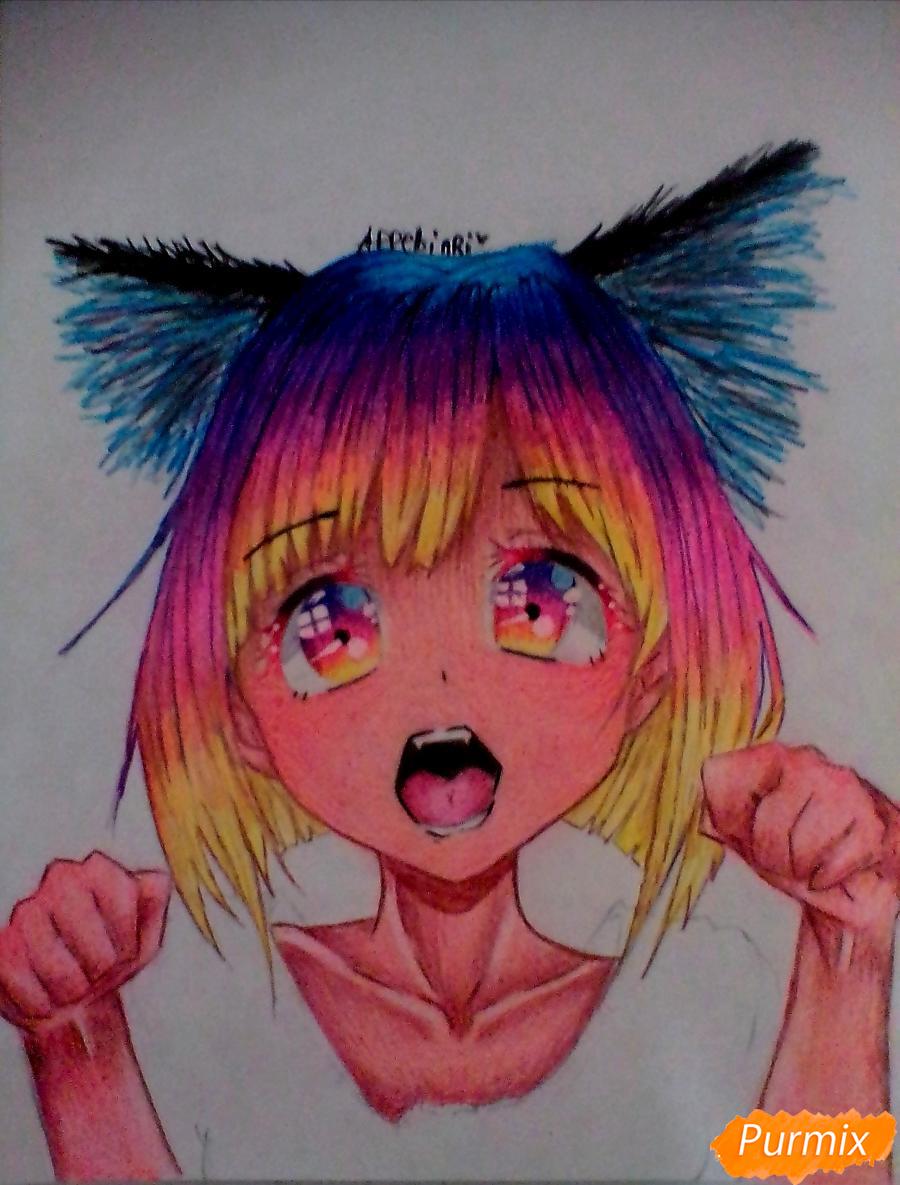 Кричащая девушка с цветными волосами - шаг 7
