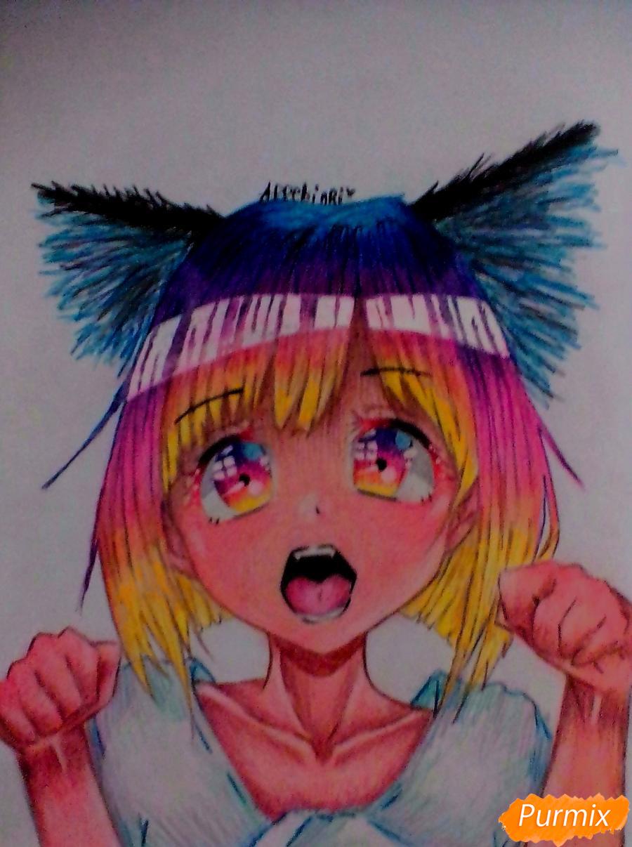 Кричащая девушка с цветными волосами - шаг 8