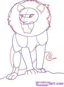 Рисуем аниме льва карандашами - шаг 2