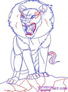 Рисуем аниме льва карандашами - шаг 5