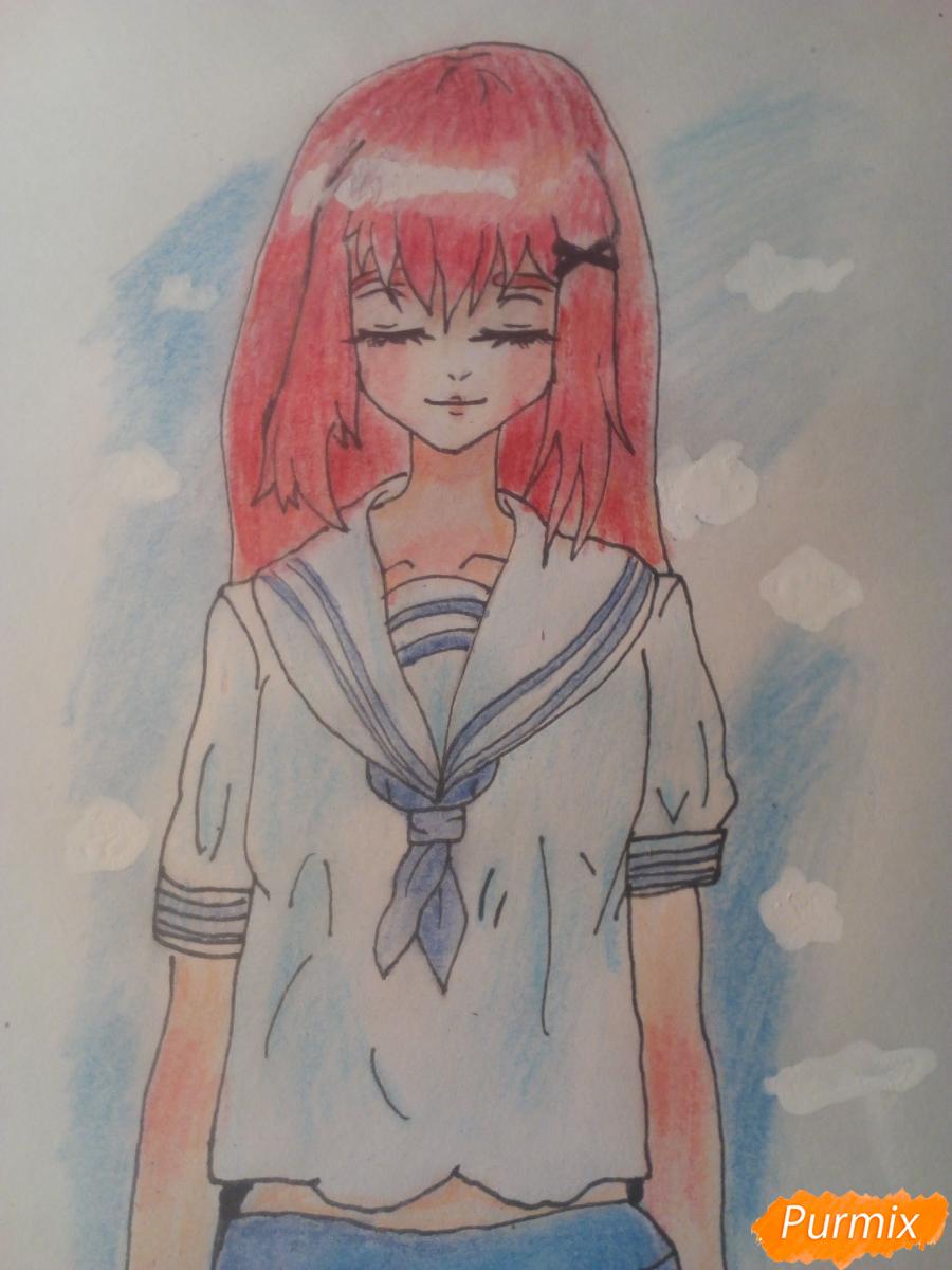 Рисуем девочку в школьной форме - шаг 10