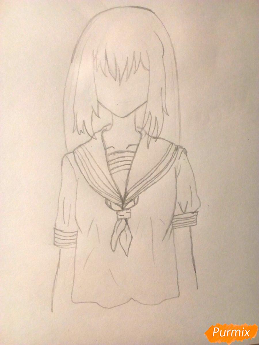 Рисуем девочку в школьной форме - шаг 4