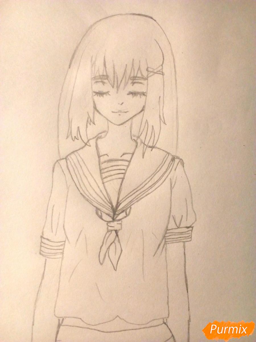 Рисуем девочку в школьной форме - шаг 5