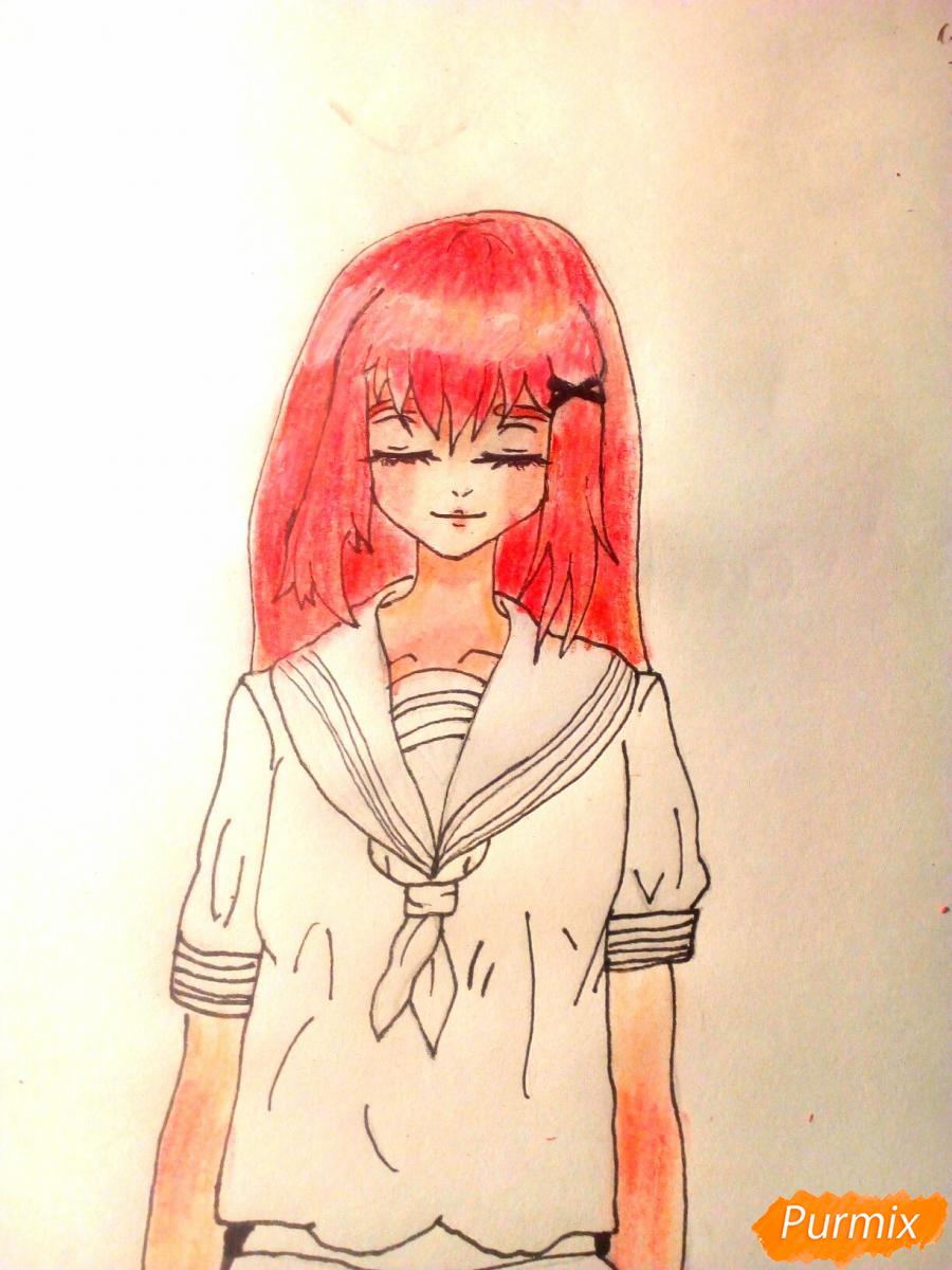 Рисуем девочку в школьной форме - шаг 8