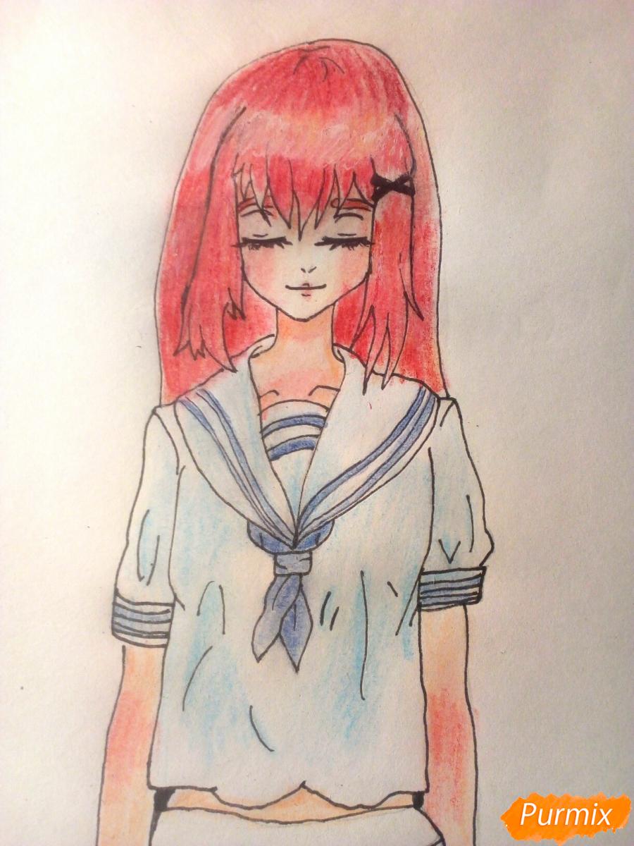 Рисуем девочку в школьной форме - шаг 9
