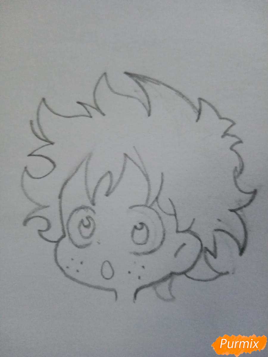 Рисуем чиби Изуку Мидорию (Деку) - шаг 2