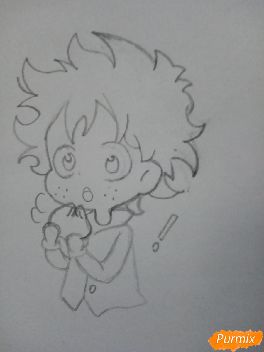 Рисуем чиби Изуку Мидорию (Деку) - шаг 3
