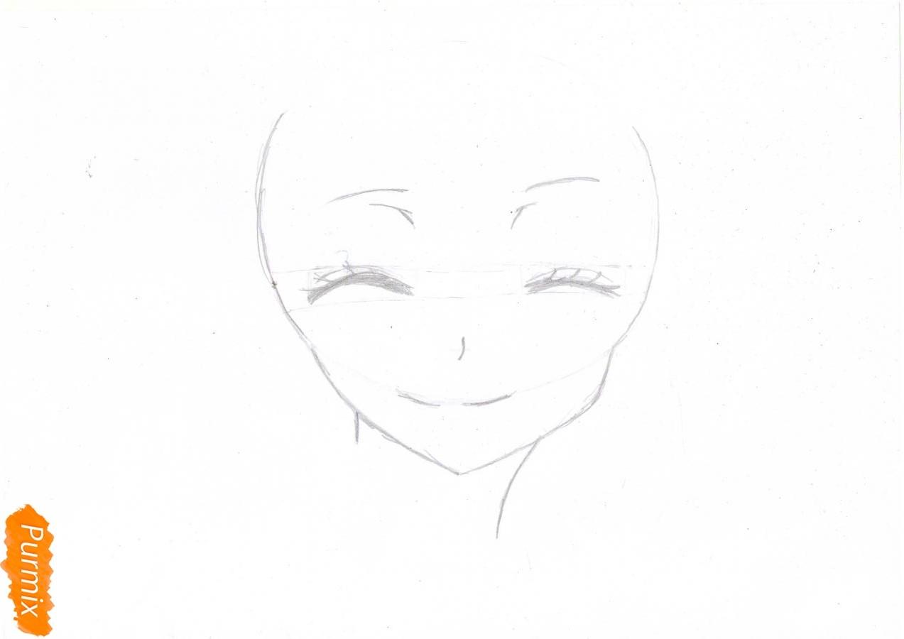 Учимся рисовать голову Нанами Момодзоно из аниме Очень приятно, Бог - шаг 2