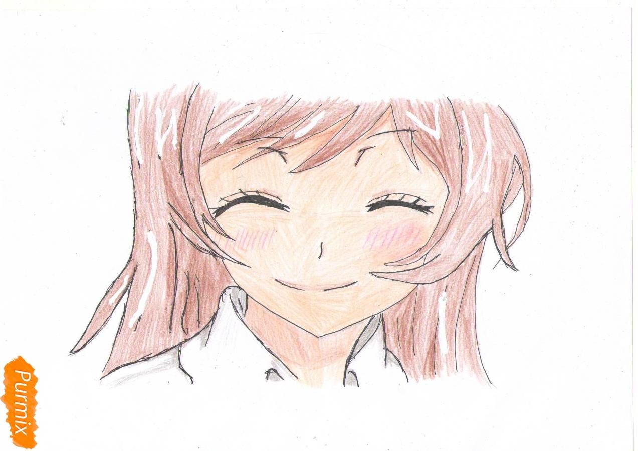 Учимся рисовать голову Нанами Момодзоно из аниме Очень приятно, Бог - шаг 4