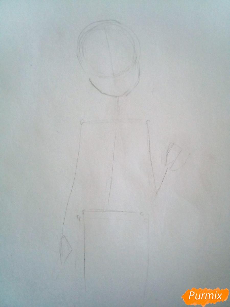 Рисуем Химико Тога цветными карандашами - шаг 1
