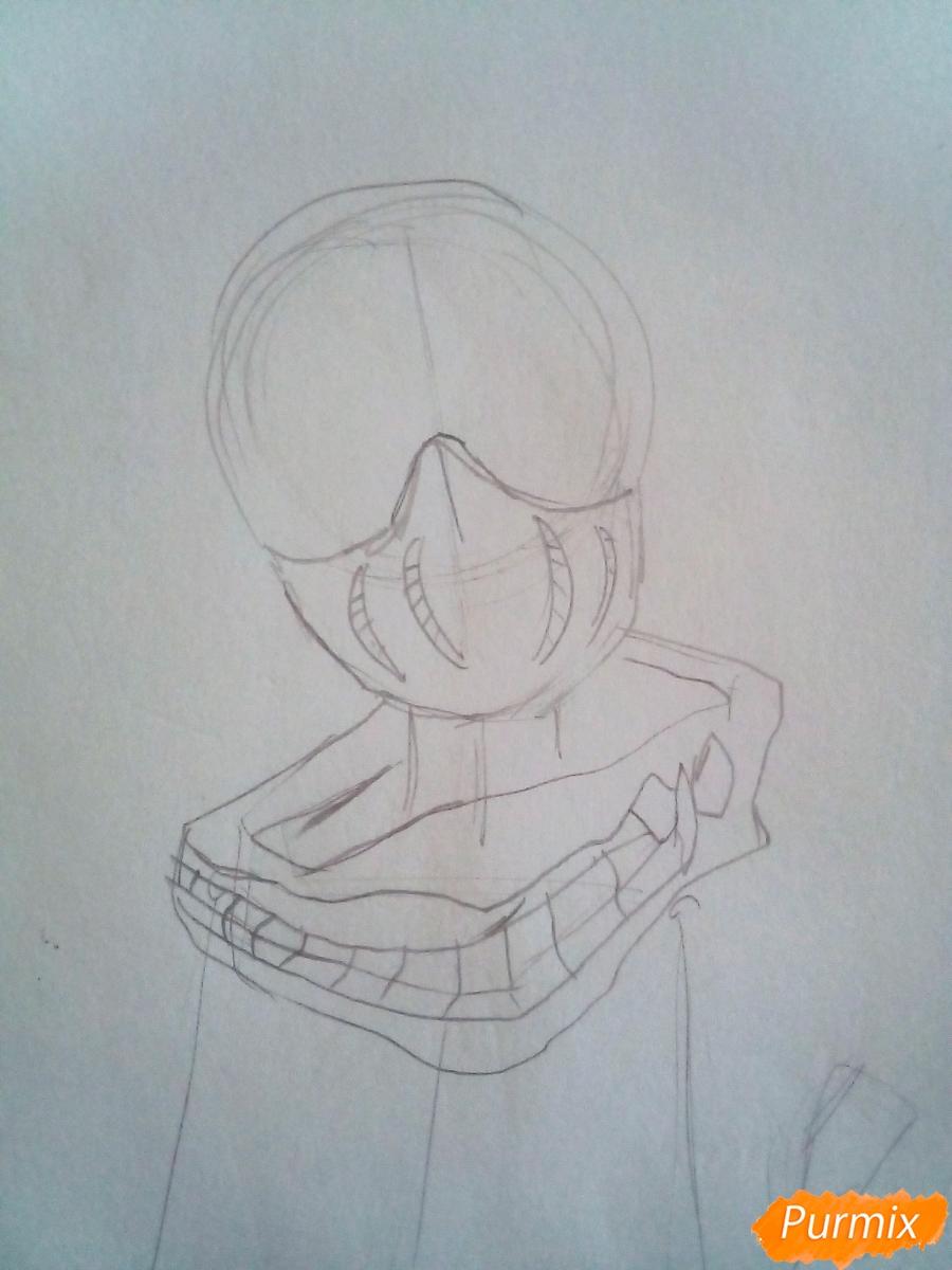 Рисуем Химико Тога цветными карандашами - шаг 2