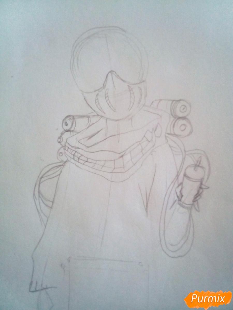 Рисуем Химико Тога цветными карандашами - шаг 3