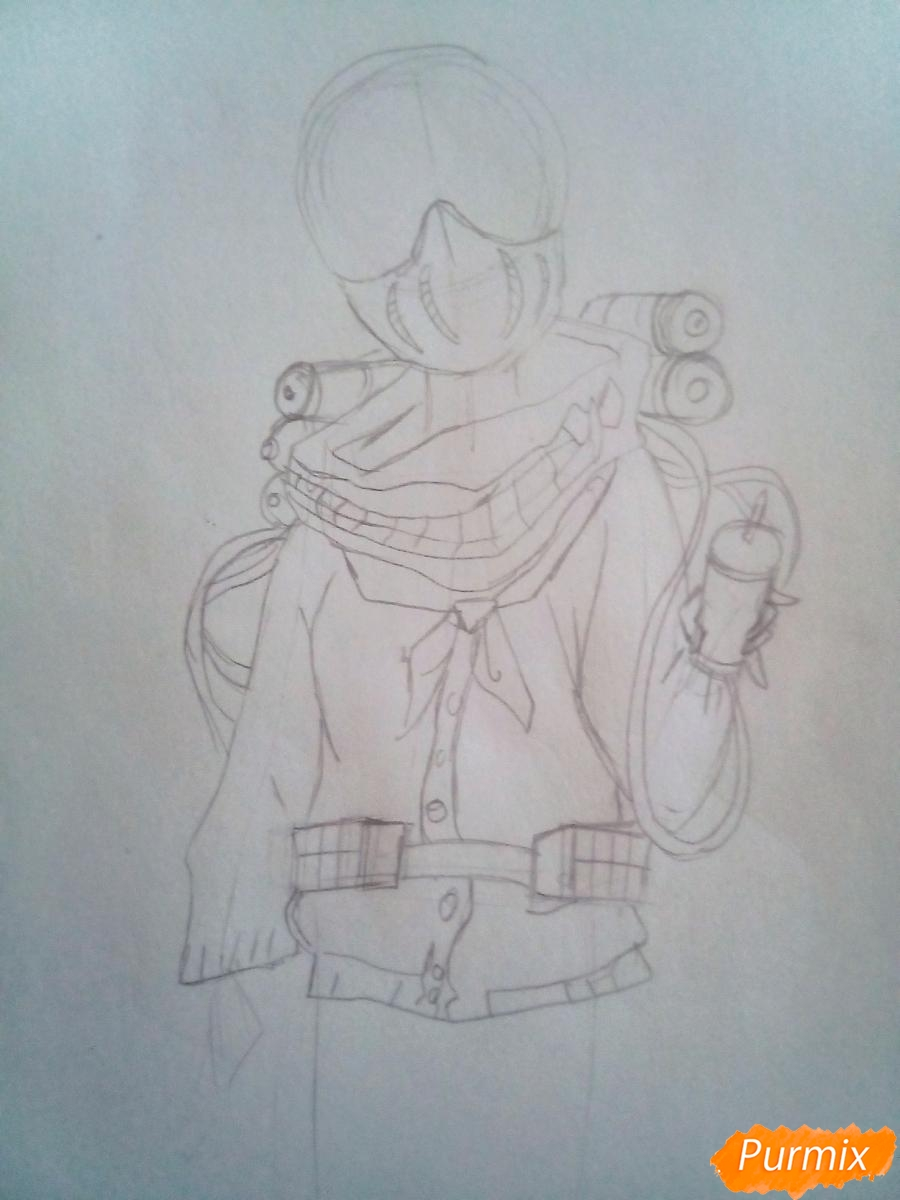 Рисуем Химико Тога цветными карандашами - шаг 4
