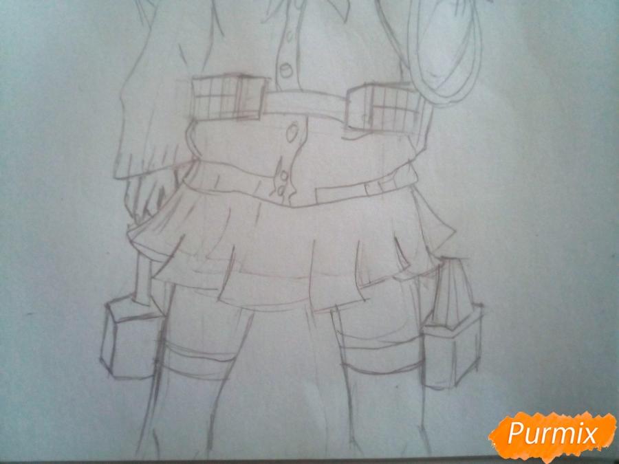 Рисуем Химико Тога цветными карандашами - шаг 5