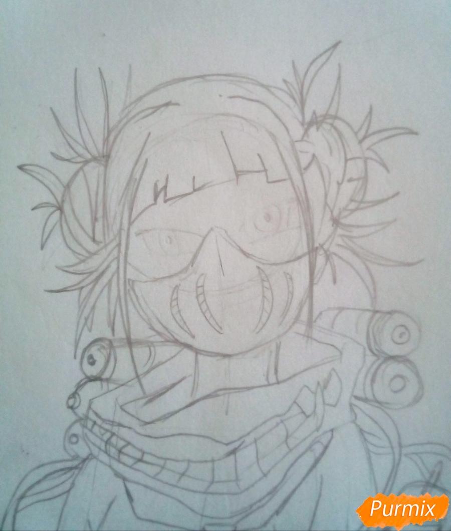 Рисуем Химико Тога цветными карандашами - шаг 6