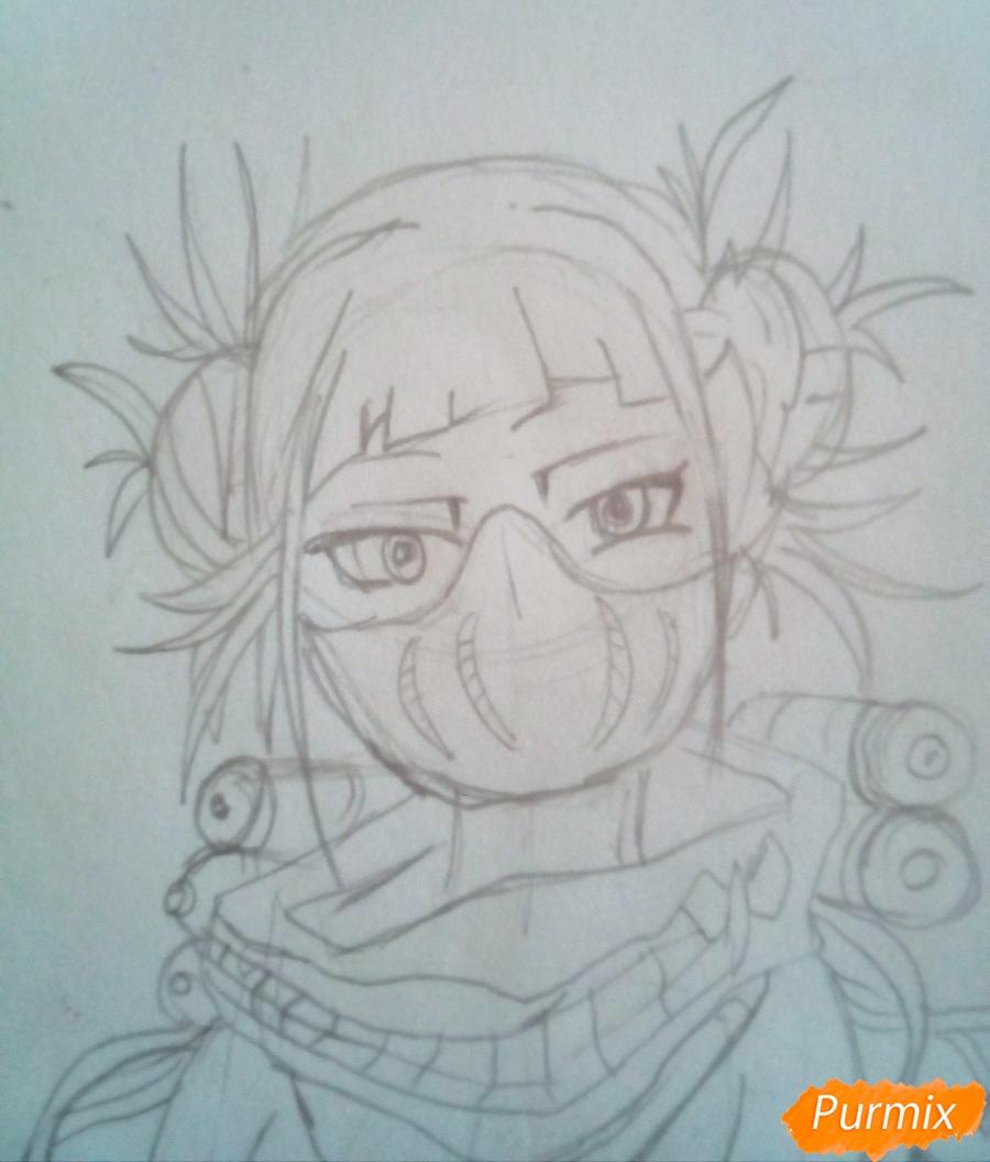 Рисуем Химико Тога цветными карандашами - шаг 7