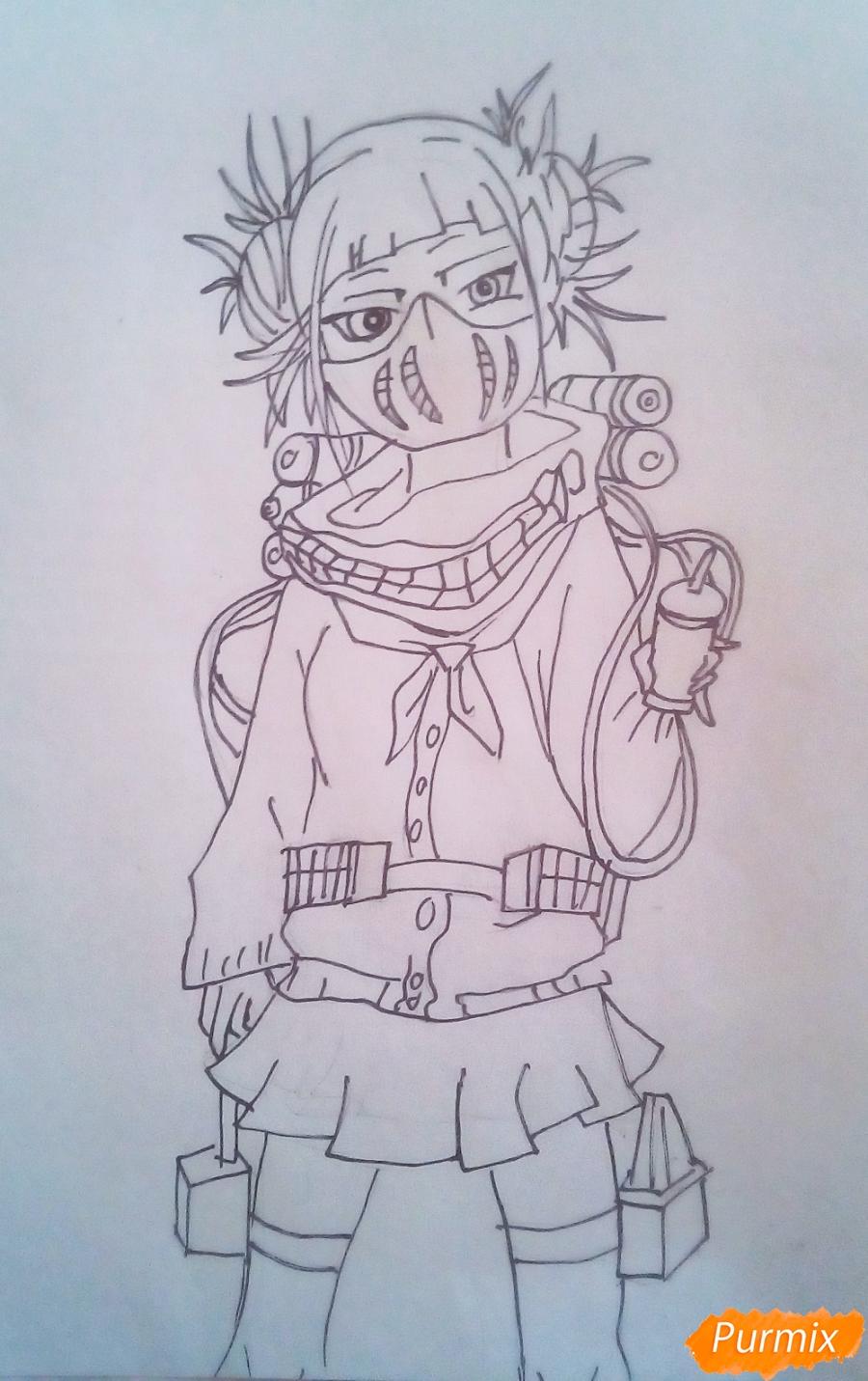 Рисуем Химико Тога цветными карандашами - шаг 8