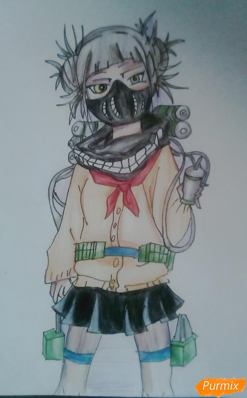 Рисуем Химико Тога цветными карандашами - шаг 9